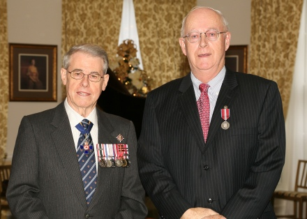 GANS President Dr. Allan Marble (R) at the Queen Elizabeth II Diamond Jubilee Medal Investiture, with His Honour Brigadier-General The Honourable J.J. Grant, CMM, ONS, CD (Ret'd), Lieutenant Governor of Nova Scotia